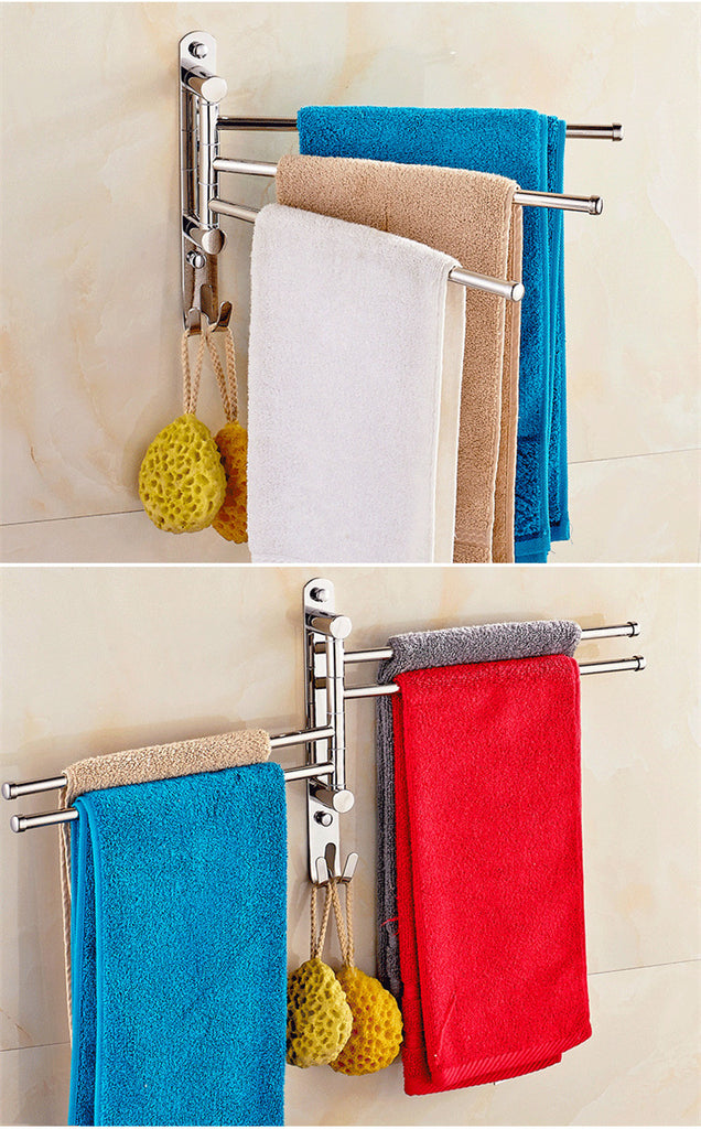 Stainless Steel No Drilling Towel Rack 3/4 Rods with Hooks Movable Towel Bar