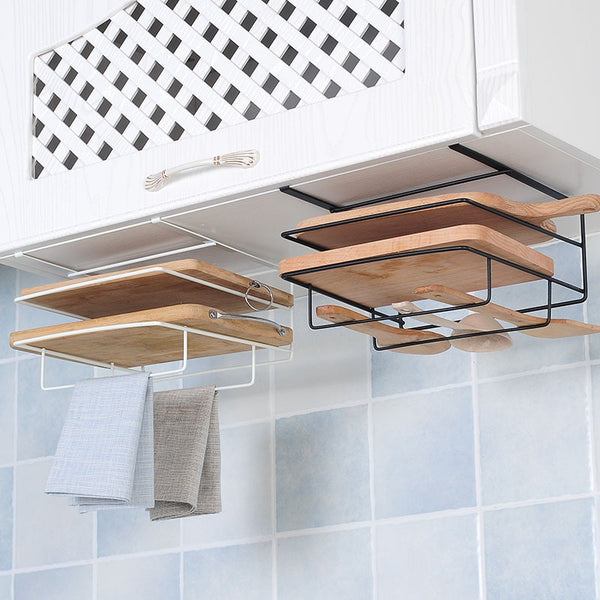 Kitchen Under Cabinet Hanging Organizer Chopping Board Storage Rack Towel Rack