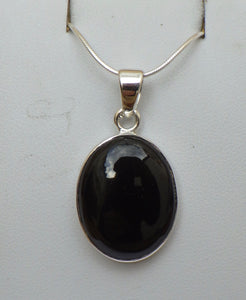 Oval Whitby Jet Silver Pendant | Earthfound.co.uk
