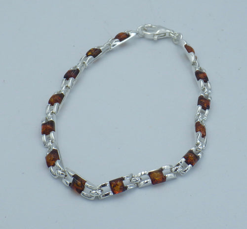 Sterling Silver Square Cut Baltic Amber Bracelet | Earthfound.co.uk