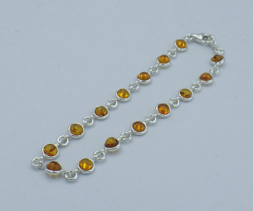 Sterling Silver Round Cut Baltic Amber Bracelet | Earthfound.co.uk
