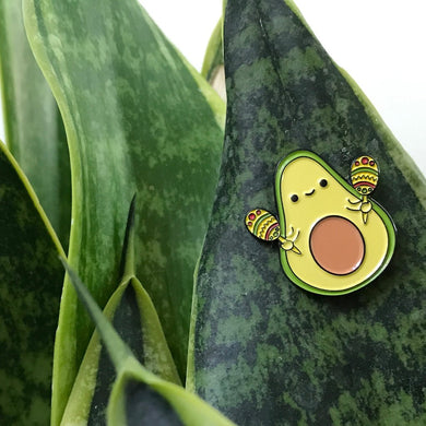 CHA-CHA THE AVOCADO WITH MARACAS ENAMEL PIN