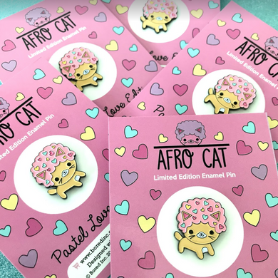 AFRO CAT PASTEL LOVE ENAMEL PIN
