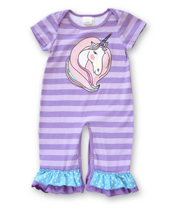 Purple Unicorn Baby Romper