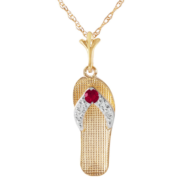 0.15 Carat 14K Gold Shoes Necklace Natural Ruby