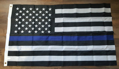 USA POLICE MEMORIAL 3'X5' EMBROIDERED 210D NYLON FLAG US LAW ENFORCEMENT BLUE LINE