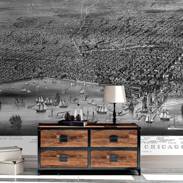 Chicago Mural <br> Great Wall - Trendy Custom Wallpaper | Contemporary Wallpaper Designs | The Detroit Wallpaper Co.