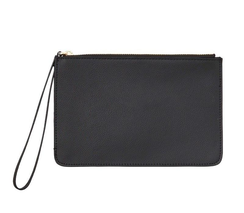 WOMENS FINE LEATHER CLUTCH IN BLACK