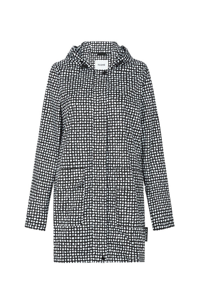 WOMENS '3/4 JACKET' RAINCOAT IN BLACK DALMATIAN