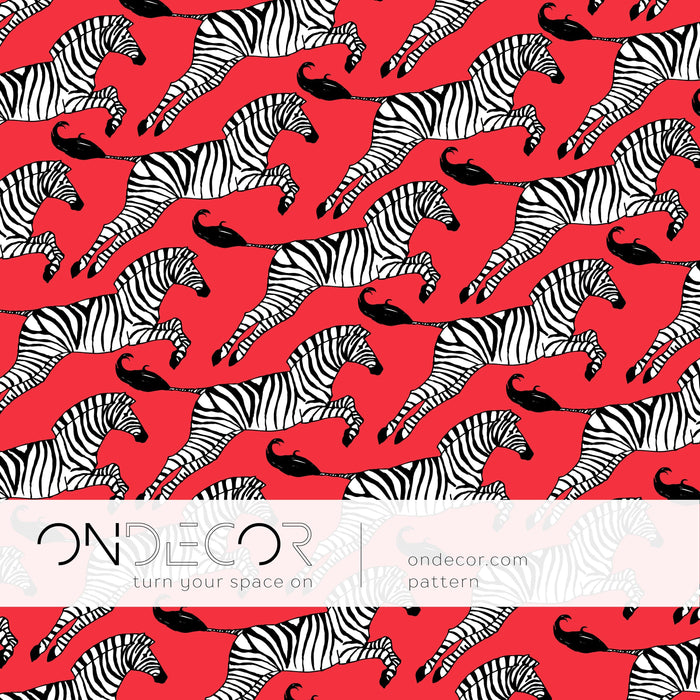 Scandinavian Wallpaper - Red Zebra Wallpaper