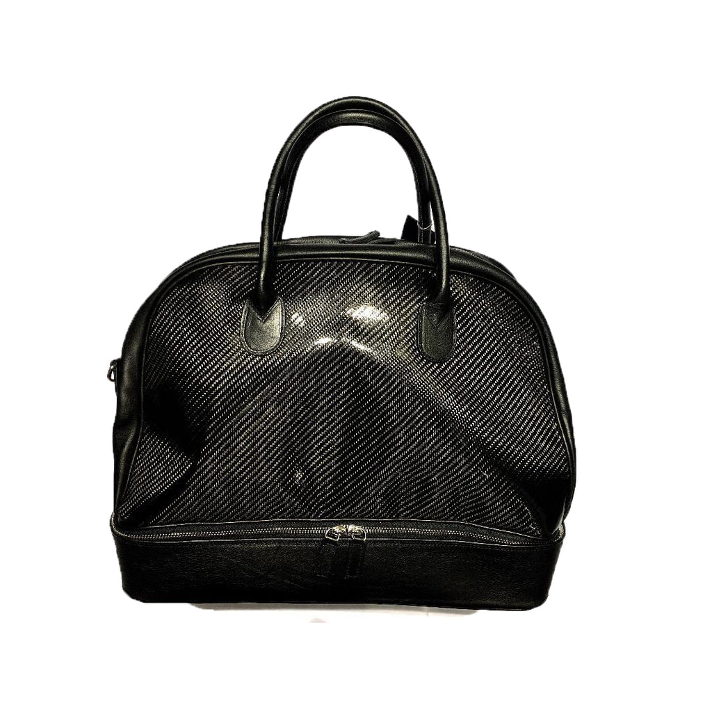 Fresco Black Leather & Carbon Fiber Travel Bag