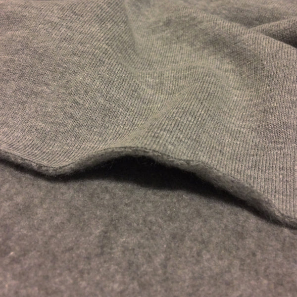 Charcoal Organic Bamboo Fleece Knit Fabric - 350 GSM Tubular - Kinderel Bamboo Fabrics