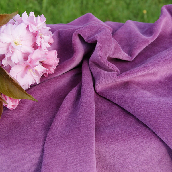 Organic Cotton Velour Fabric - Plum OCV - Kinderel Bamboo Fabrics