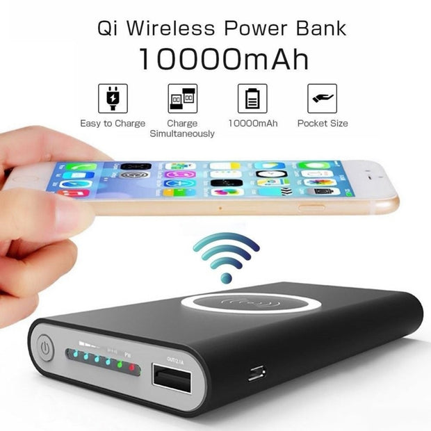 10,000MAh Portable Power Bank w/ Wireless Charging