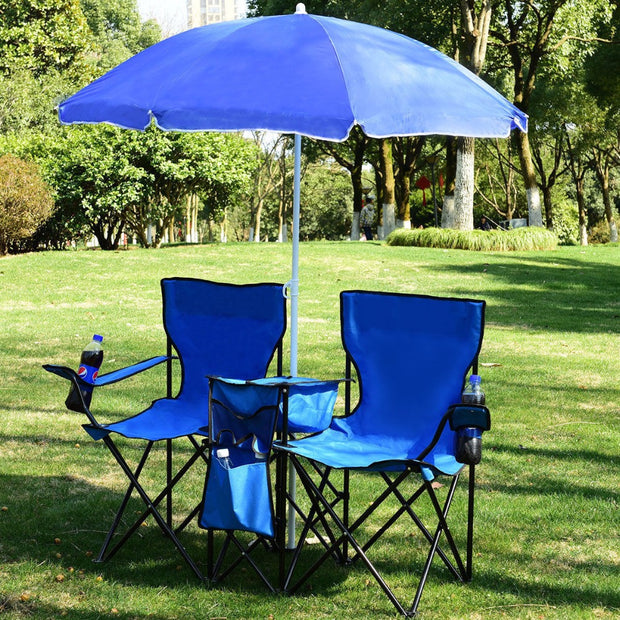 Portable Folding Picnic Double Chair W/Umbrella Table