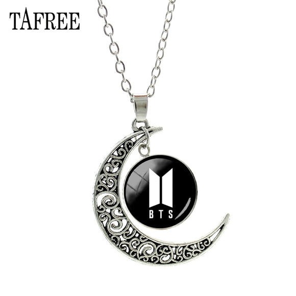 TAFREE BTS Pendants Necklace Big Round Moon Best Lady Long Chain Necklace Pendant Choker Statement Girls Women Men Jewelry BTS47