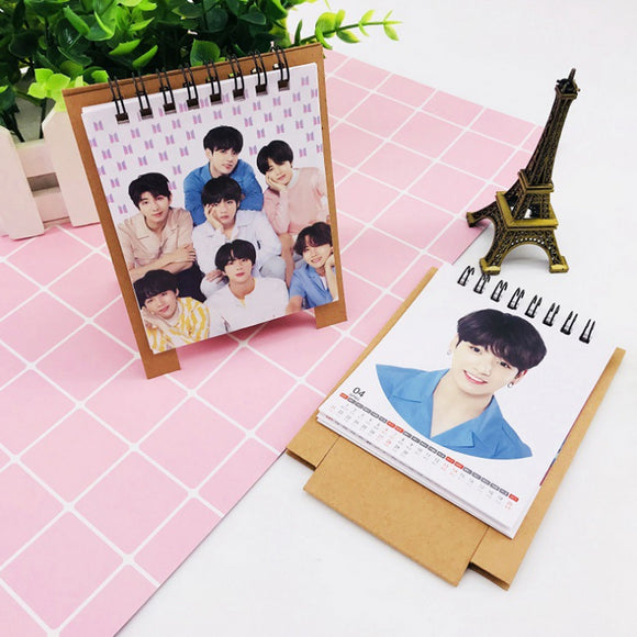 1 Pcs Novelty Kpop BTS BT21 Love Yourself 2019 Mini Desktop Calendar JUNGKOOK V JIMIN Photo Picture Army Stationery Calendar