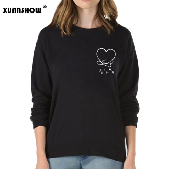 XUANSHOW 2018 Unsiex Sweatshirts Kpop BTS Fans Club Fashion BT21 Fleece Hoodies Sweatshirt Harajuku Moletom Plus Size S-5XL