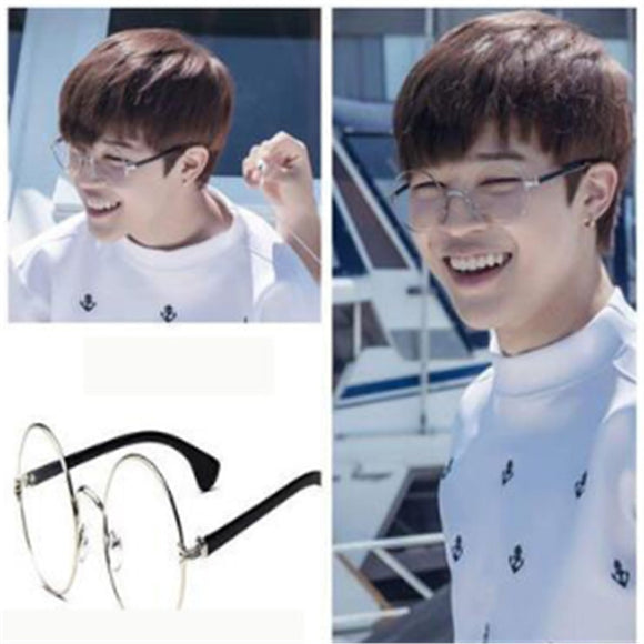 2018 New Kpop BTS  bangtang boy JIMIN korean Flat mirror glasses Retro metal same style glasses