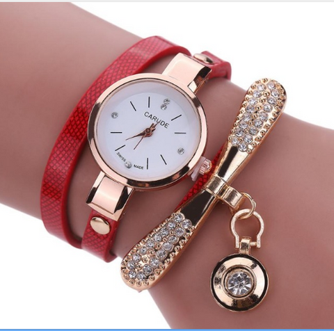 Casual Fashion Bracelet Multi Band and Rhinestone Charm Watch Red