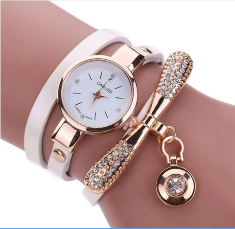 Casual Fashion Bracelet Multi Band and Rhinestone Charm Watch White