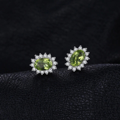 1.2 ct Natural Peridot and CZ Sterling Silver Stud Earrings