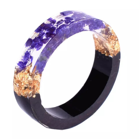 Purple Botanical, Wood & Gold Flake Resin Ring