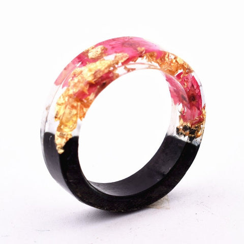 Pink Botanical, Wood & Gold Flake Resin Ring