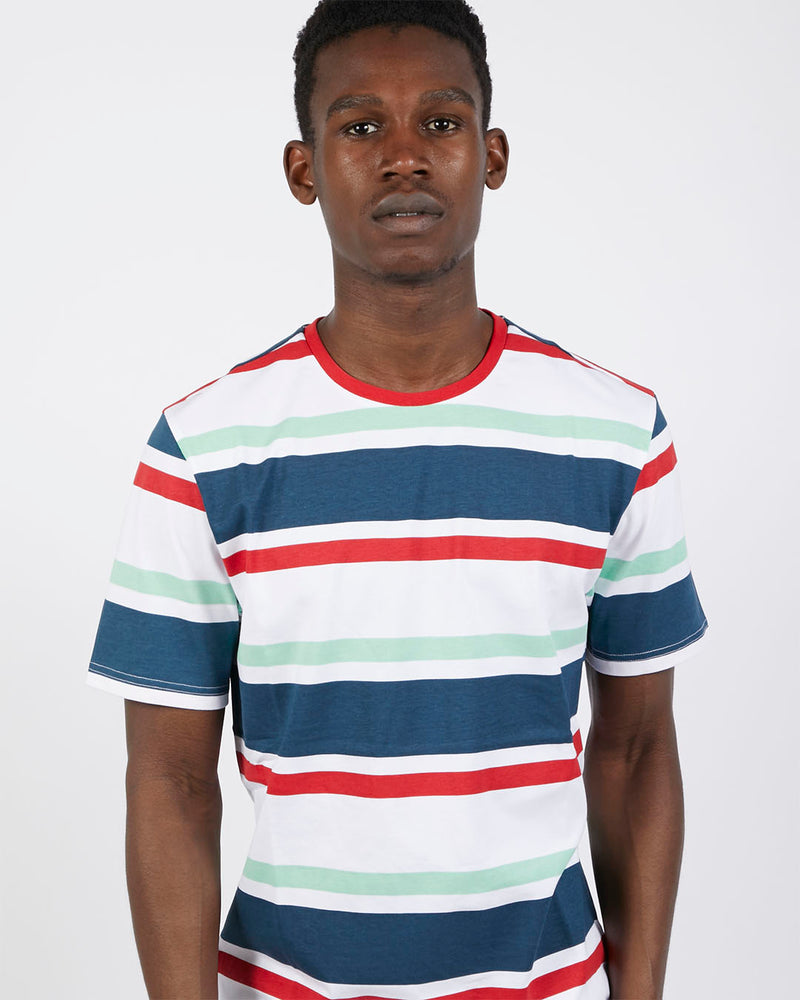 The Idle Man - Block Stripe T-Shirt Red