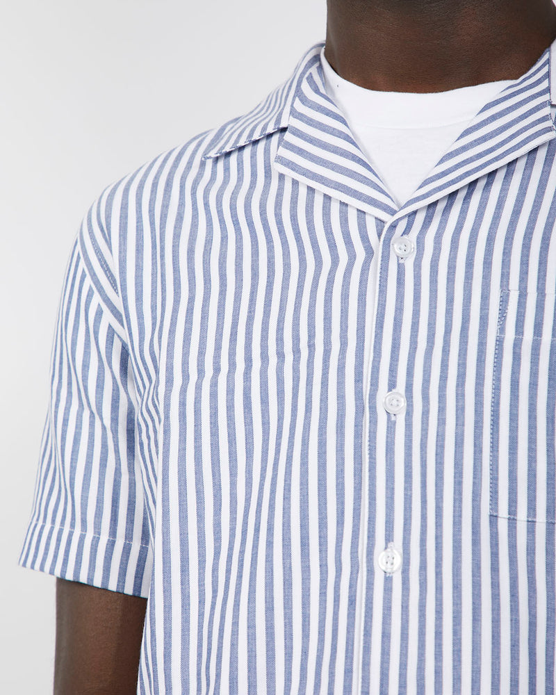 The Idle Man - Double Face Stripe Revere Collar Shirt White