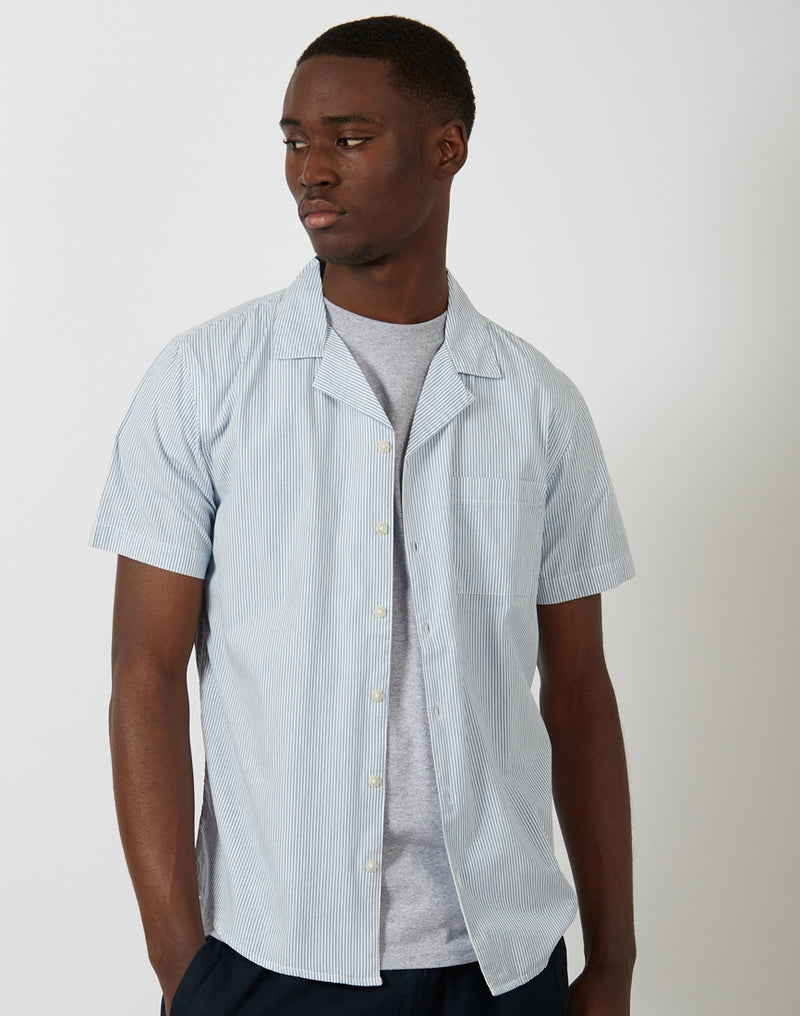 The Idle Man - Stripe Revere Collar White and Blue