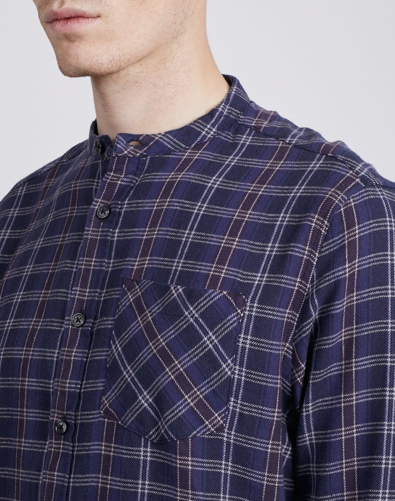 The Idle Man - Check Grandad Collar Shirt Navy