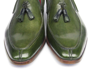 Paul Parkman Men's Tassel Loafer Green Leather (ID#083-GREEN)
