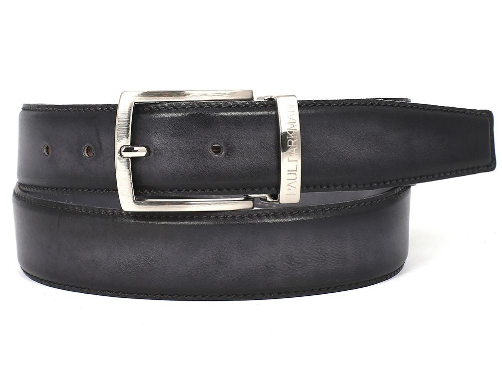 PAUL PARKMAN Men's Leather Belt Dual Tone Hand-Painted Gray & Black (ID#B01-GRY-BLK)