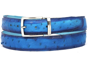 PAUL PARKMAN Men's Ocean Blue Genuine Ostrich Belt (ID#B04-OCEAN)