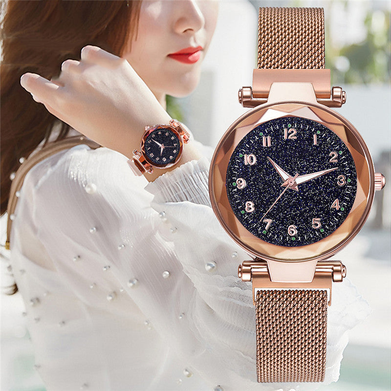 New Popular Women Watches Fashion Starry Sky Ladies Quartz Clock Luxury Magnetic Mesh Female Wristwatch 2019 Best Watch for Gift