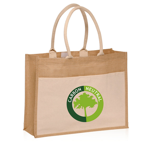 Jute Tote Bag with Canvas Pocket - Apartment Promotion
