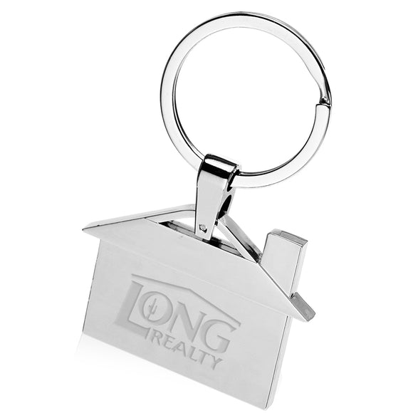 Laser-Engraved House Shaped Metal Keychain - Apartment Promotion