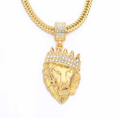 Iced Lion Pendant + Chain