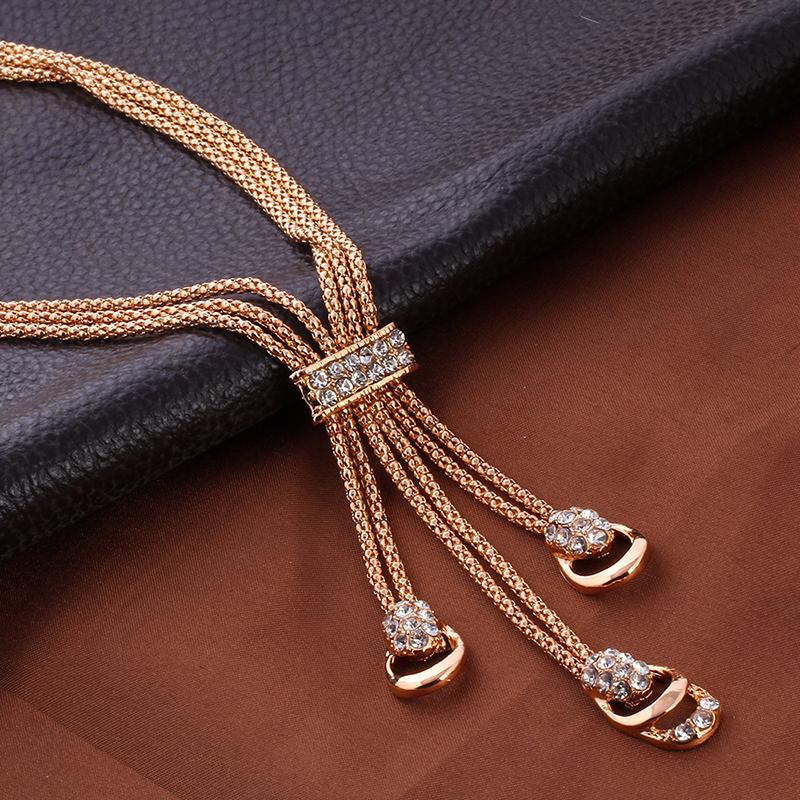 17KM Rose Gold Color Crystal Necklace Earring Bracelet Ring Set Rhinestone - GTG