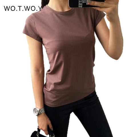 18 Color Plain T Shirt Women Cotton Elastic Basic T-shirts Female Casual Tops Short Sleeve - GTG