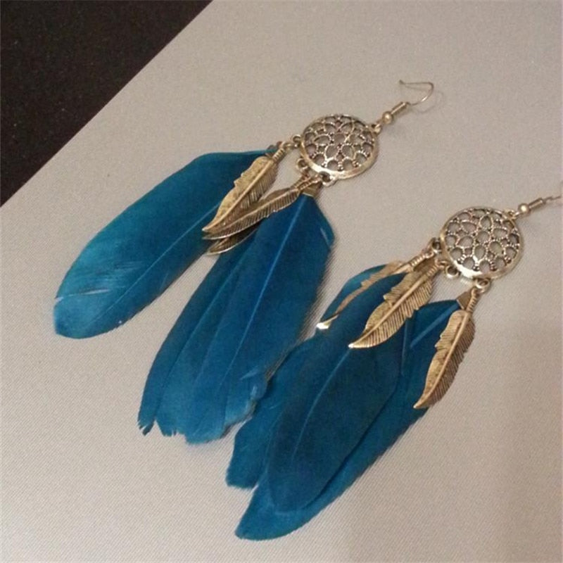 Dream Catcher Hollow out Vintage Leaf Feather Dangle Earrings For Women Earring - GTG
