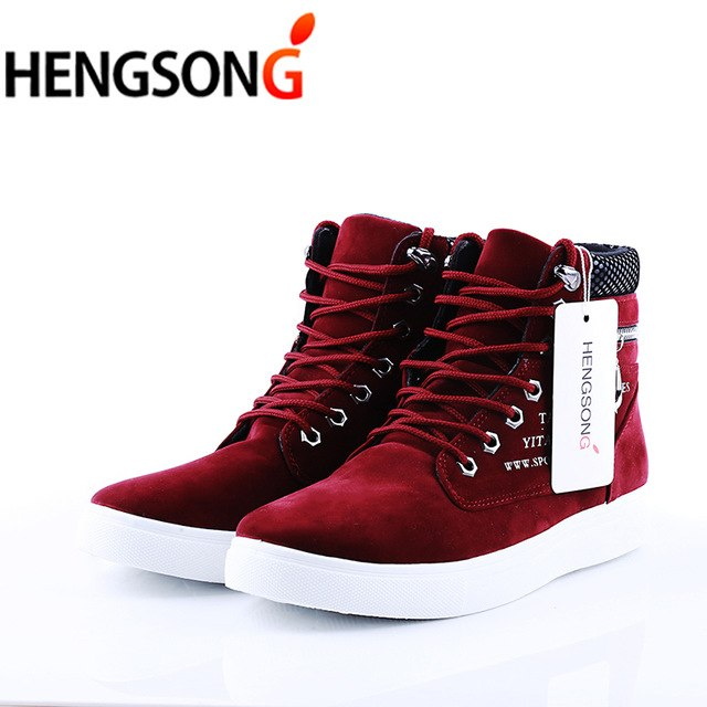 2018 Spring  Men's Casual High Top Suede Leather Shoes Loafers Lace-Up - GTG