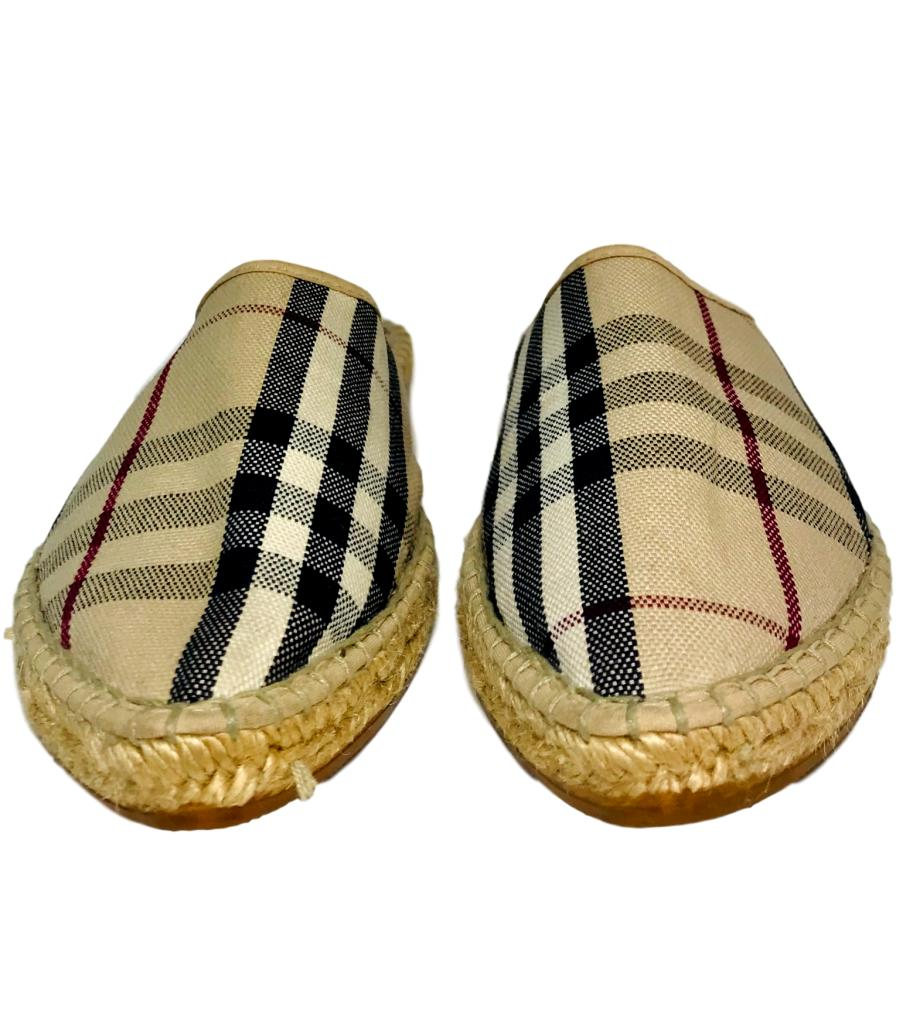 Burberry Check Flat Mules. Size 39