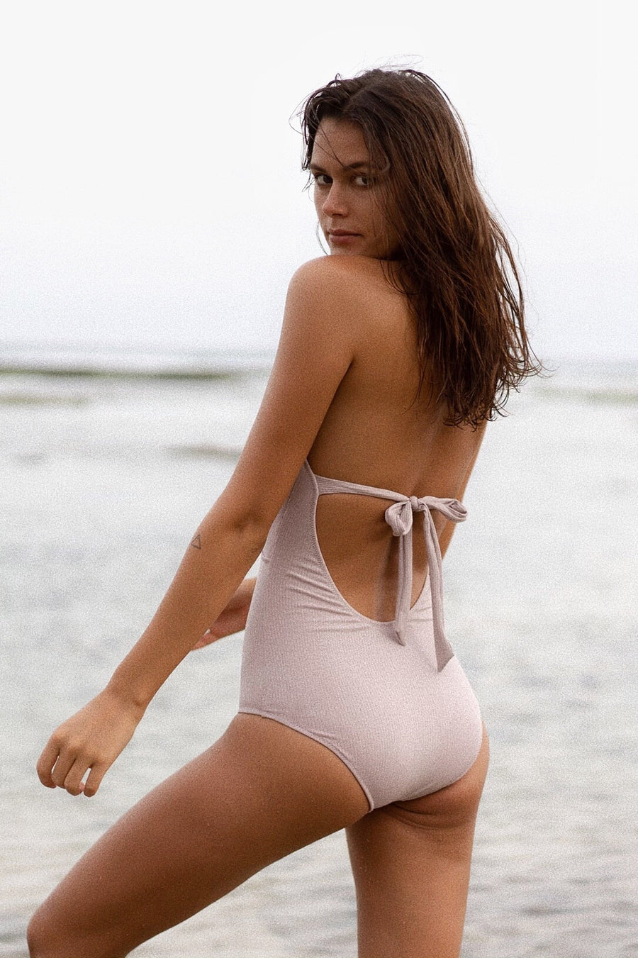 Back ribbon one piece swimwear - rose beige