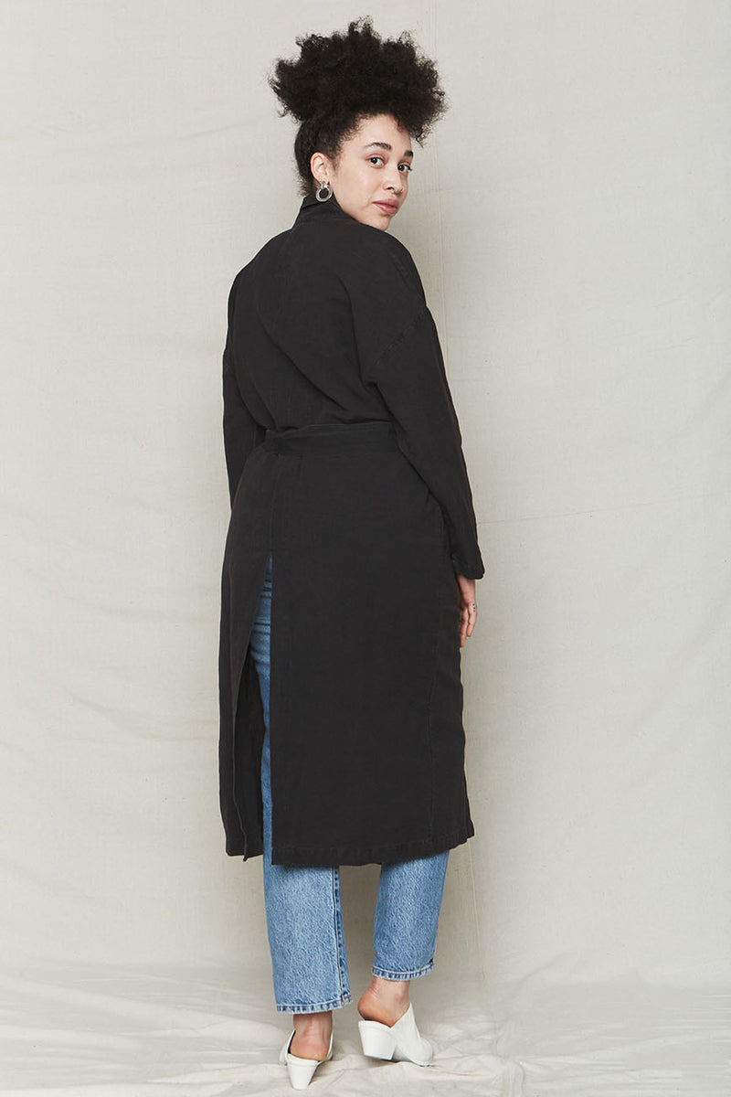 Vintage Black Plant Dyed Linen Easy Robe