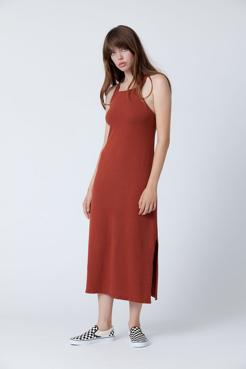 recycled cotton dress rust 1