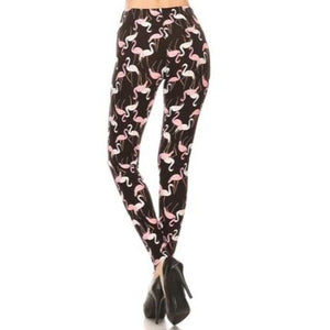 Pink and White Flamingo Plus Size Leggings