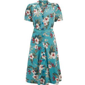 Shirtwaister Dress in Teal Hawaiian Print, Perfect 1950s Style