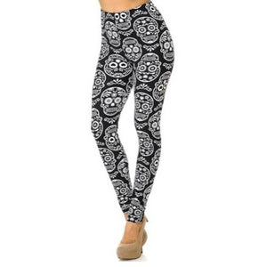 Black and White Sugar Skull Leggings Plus Size